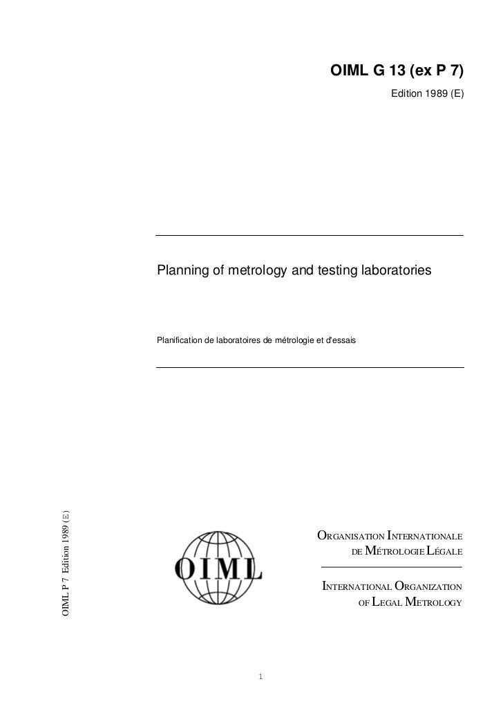 OIML G 13 (ex P 7)                                                                                      Edition 1989 (E)  ...