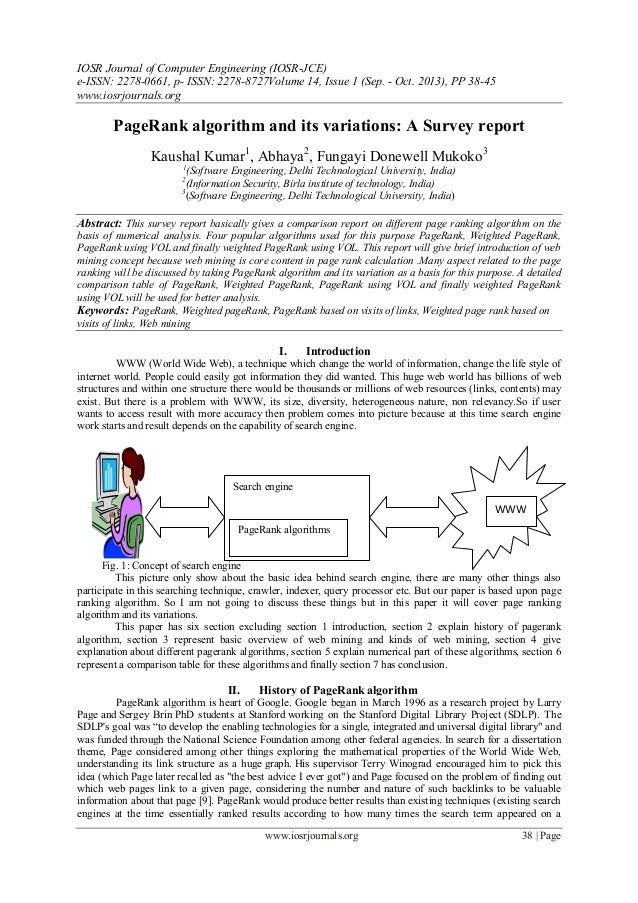 PageRank algorithm and its variations: A Survey report
