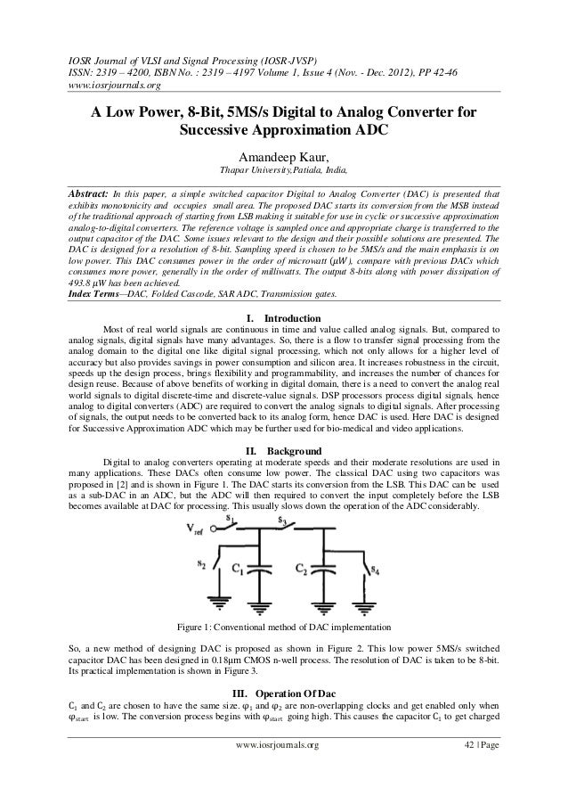IOSR Journal of VLSI and Signal Processing (IOSR-JVSP) ISSN: 2319 – 4200, ISBN No. : 2319 – 4197 Volume 1, Issue 4 (Nov. -...