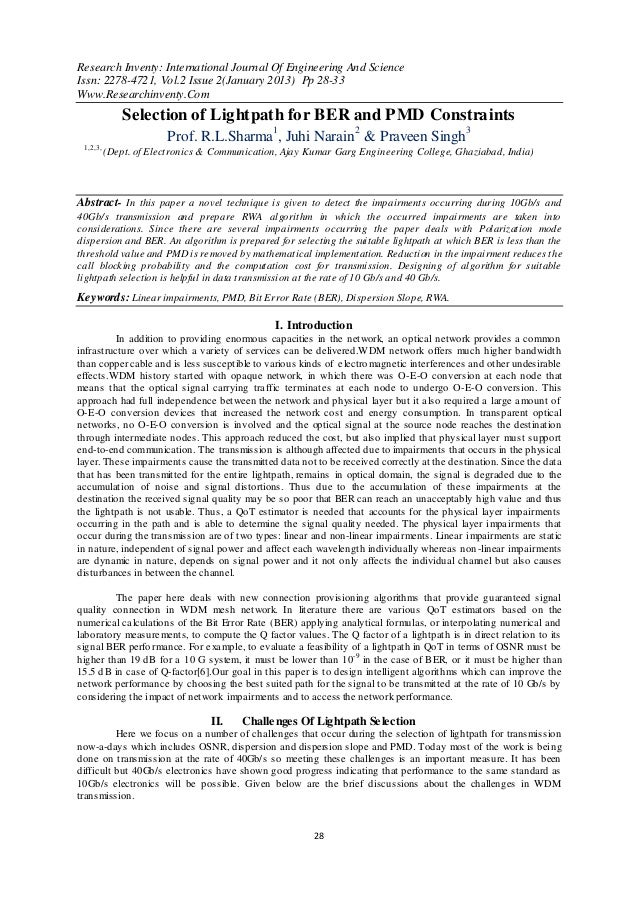 Research Inventy: International Journal Of Engineering And ScienceIssn: 2278-4721, Vol.2 Issue 2(January 2013) Pp 28-33Www...