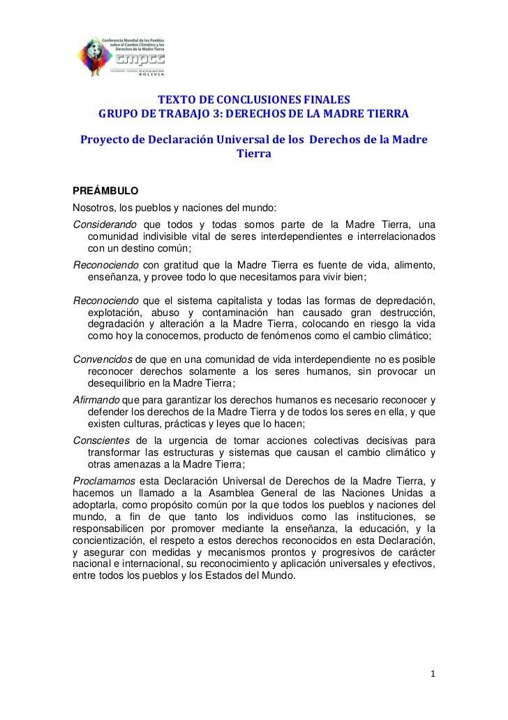 TEXTO DE CONCLUSIONES FINALES     GRUPO DE TRABAJO 3: DERECHOS DE LA MADRE TIERRA Proyecto de Declaración Universal de los...