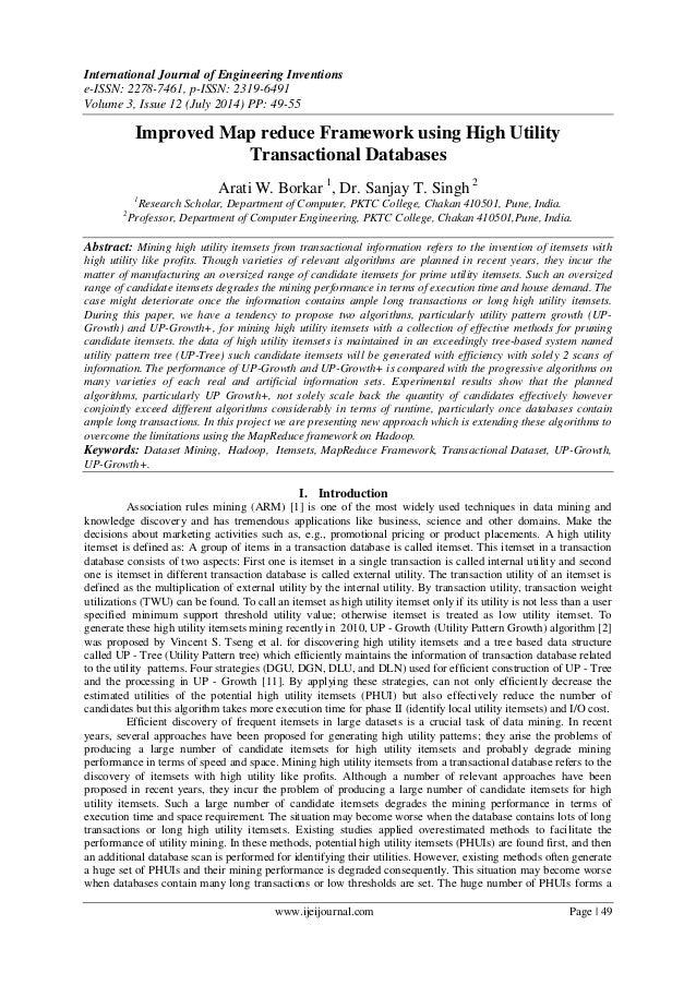 Improved Map reduce Framework using High Utility  Transactional Databases