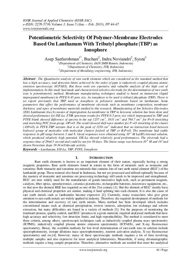 IOSR Journal of Applied Chemistry (IOSR-JAC)e-ISSN: 2278-5736. Volume 3, Issue 5 (Jan. – Feb. 2013), PP 44-47www.iosrjourn...