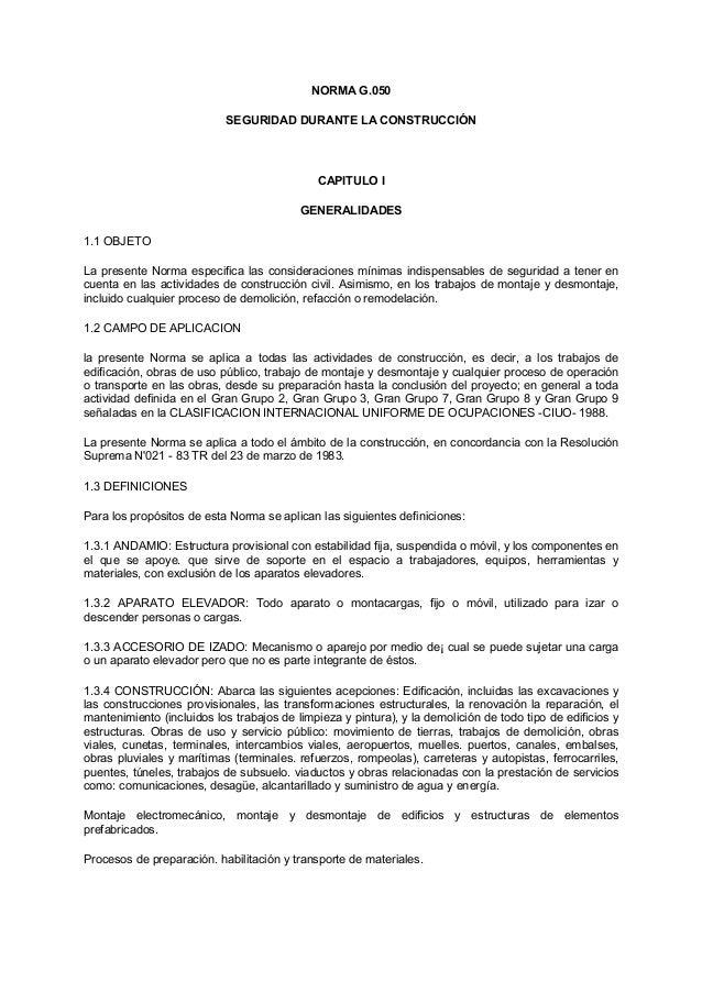 NORMA G.050                           SEGURIDAD DURANTE LA CONSTRUCCIÓN                                             CAPITU...