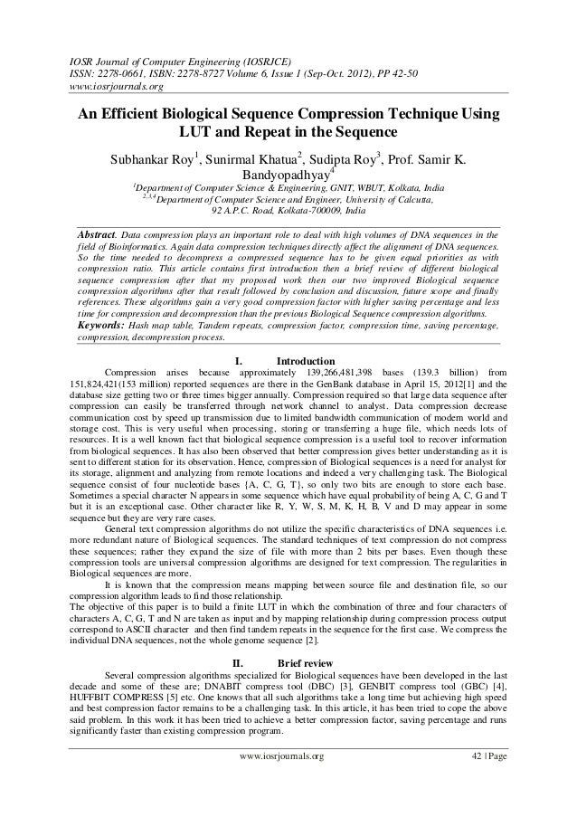 IOSR Journal of Computer Engineering (IOSRJCE) ISSN: 2278-0661, ISBN: 2278-8727 Volume 6, Issue 1 (Sep-Oct. 2012), PP 42-5...