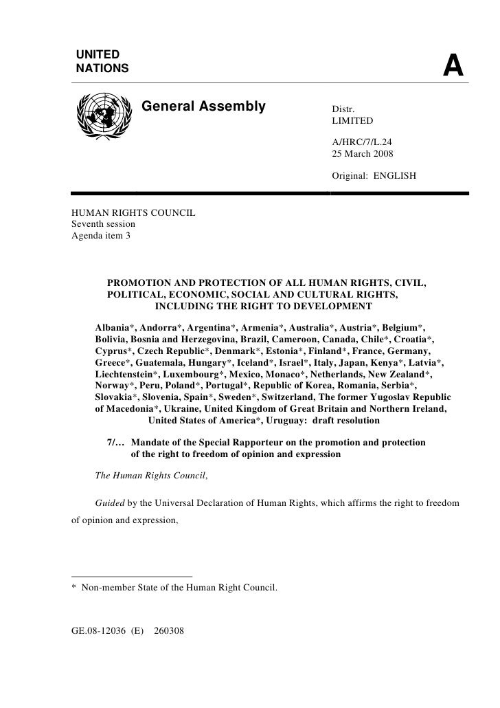 MANDATE OF THE SPECIAL RAPPORTEUR ON THE PROMOTION AND PROTECTION OF THE RIGHT TO FREEDOM OF OPINION AND EXPRESSION : DRAFT RESOLUTION