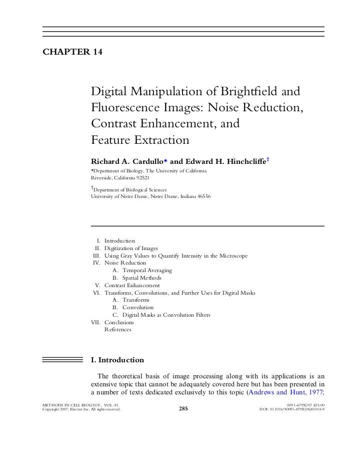 GRUPO 1 :  digital manipulation of bright field and florescence images noise reduction contrast enhancement and feature extraction