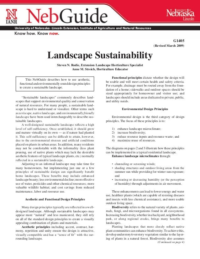 Landscape Sustainability - University of Nebraska