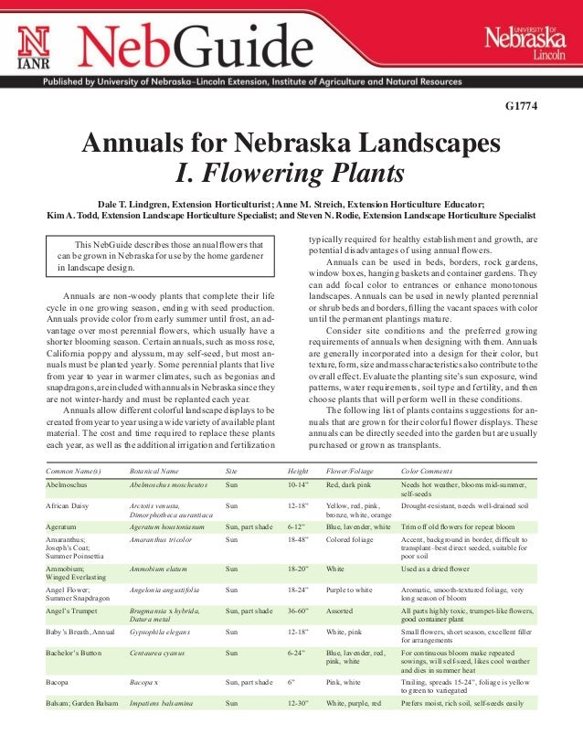G1774             Annuals for Nebraska Landscapes                   I. Flowering Plants           Dale T. Lindgren, Extens...
