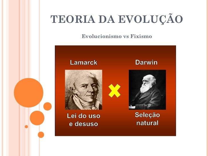 TEORIA DA EVOLUÇÃO    Evolucionismo vs Fixismo