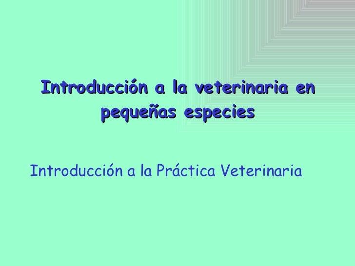 Introducción a la veterinaria en pequeñas especies Introducción a la Práctica Veterinaria