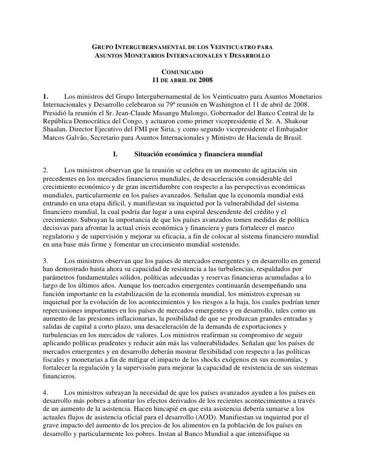GRUPO INTERGUBERNAMENTAL DE LOS VEINTICUATRO PARA                   ASUNTOS MONETARIOS INTERNACIONALES Y DESARROLLO       ...