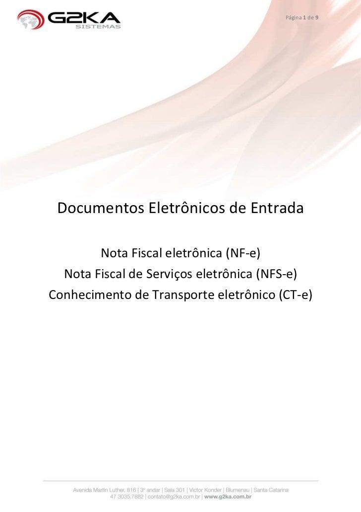 G2KA e-Doc - Gestão de Documentos Fiscais eletronicos de Entrada