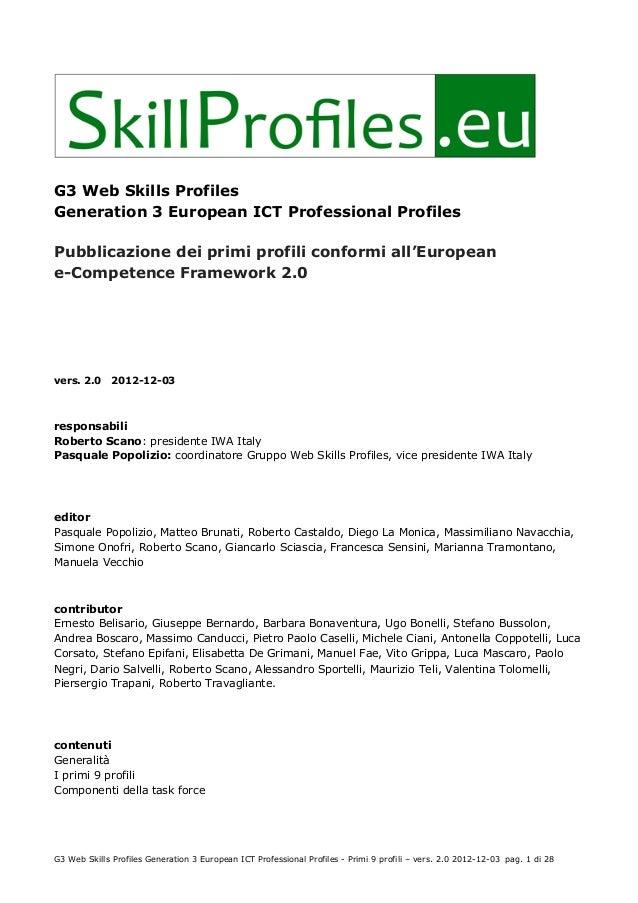 G3 Web Skills ProfilesGeneration 3 European ICT Professional ProfilesPubblicazione dei primi profili conformi all'European...