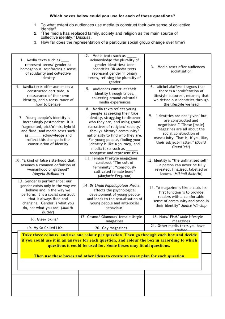 Which boxes below could you use for each of these questions?             1. To what extent do audiences use media to const...