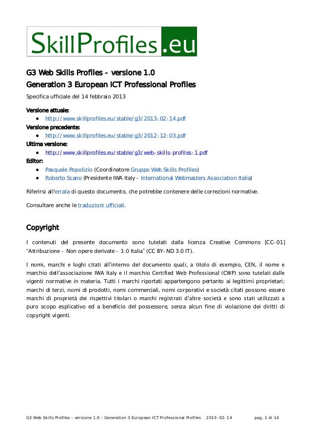 G3 Web skills profiles - versione 1.0 Generation 3 European ICT Professional Profiles - Professionisti Web