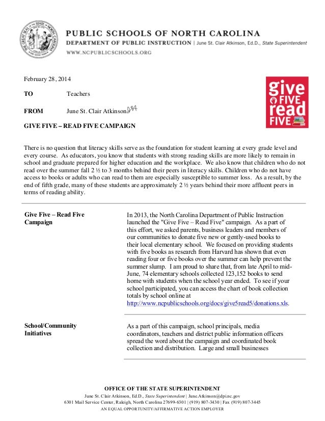February 28, 2014 TO  Teachers  FROM  June St. Clair Atkinson  GIVE FIVE – READ FIVE CAMPAIGN There is no question that li...