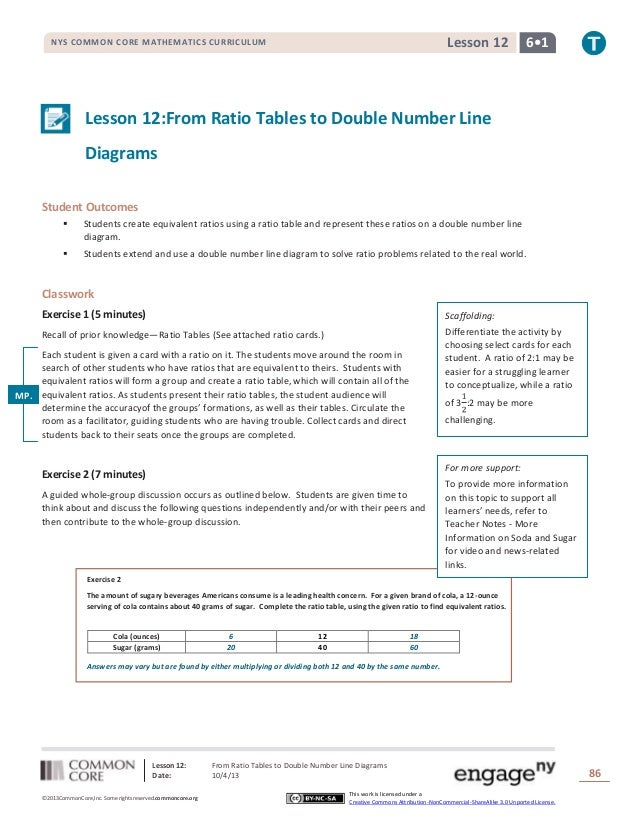 Lesson 12: From Ratio Tables to Double Number Line Diagrams Date: 10/4/13 86 ©2013CommonCore,Inc. Some rights reserved.com...