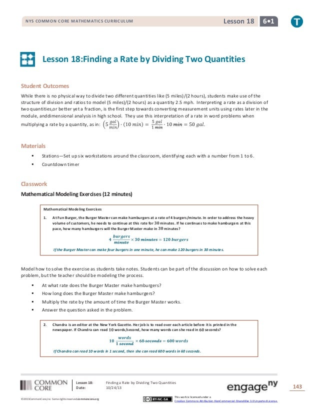 Lesson 18  NYS COMMON CORE MATHEMATICS CURRICULUM  6•1  Lesson 18:Finding a Rate by Dividing Two Quantities Student Outcom...