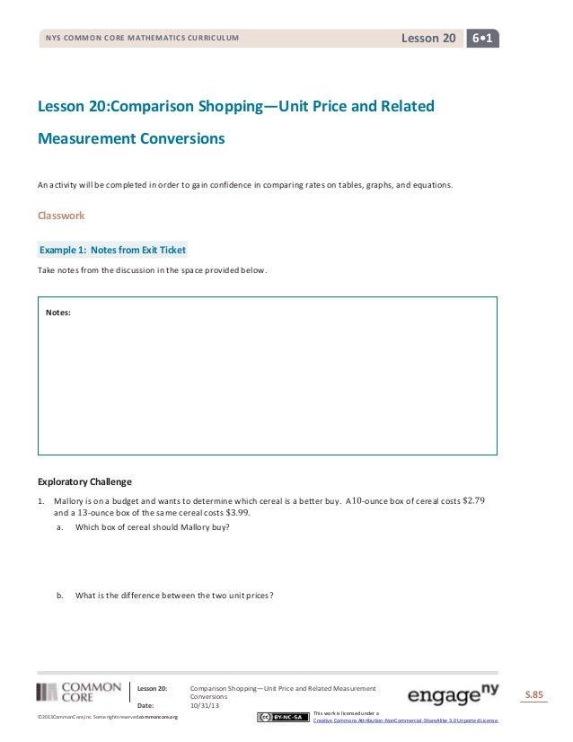 Lesson 20  NYS COMMON CORE MATHEMATICS CURRICULUM  6•1  Lesson 20:Comparison Shopping—Unit Price and Related Measurement C...