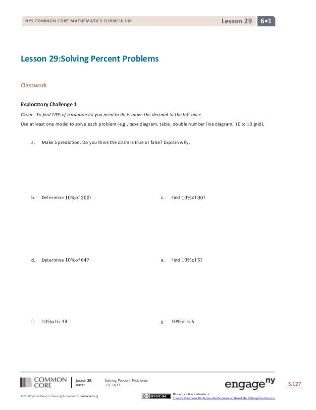 Lesson 29  NYS COMMON CORE MATHEMATICS CURRICULUM  6•1  Lesson 29:Solving Percent Problems Classwork Exploratory Challenge...