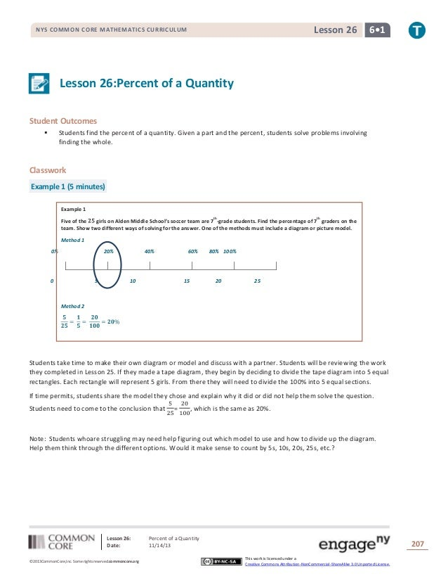 Lesson 26  NYS COMMON CORE MATHEMATICS CURRICULUM  6•1  Lesson 26:Percent of a Quantity Student Outcomes   Students find ...