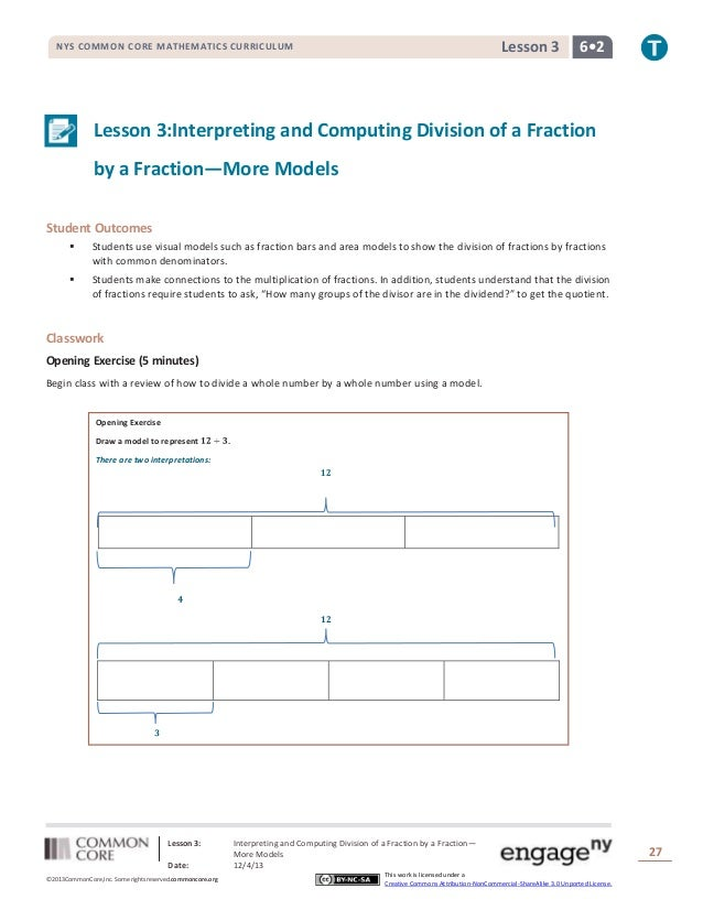 Lesson 3  NYS COMMON CORE MATHEMATICS CURRICULUM  6•2  Lesson 3:Interpreting and Computing Division of a Fraction by a Fra...