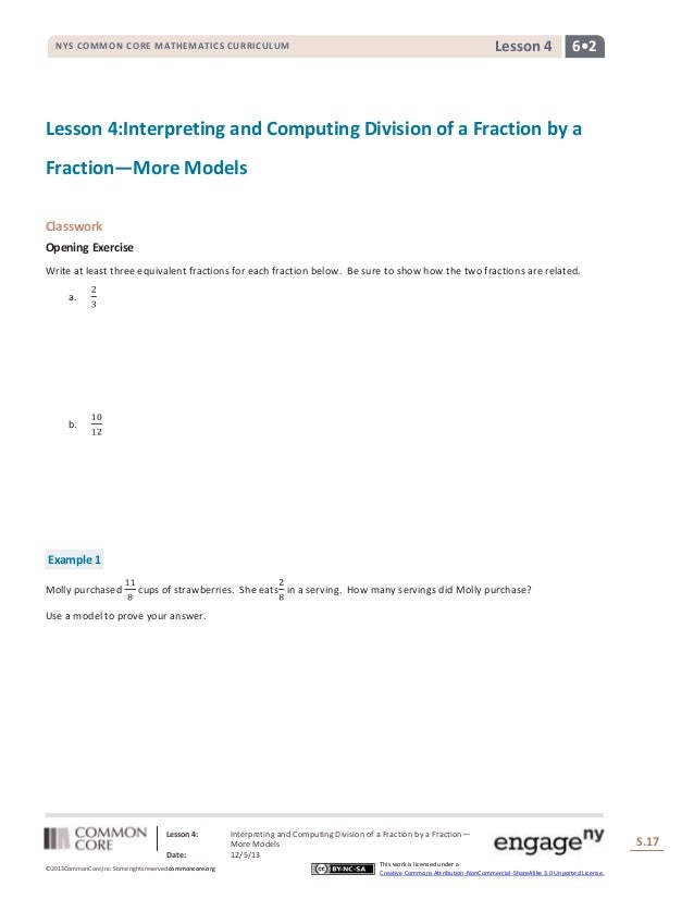 Lesson 4  NYS COMMON CORE MATHEMATICS CURRICULUM  6•2  Lesson 4:Interpreting and Computing Division of a Fraction by a Fra...