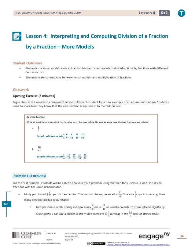 Lesson 4  NYS COMMON CORE MATHEMATICS CURRICULUM  6•2  Lesson 4: Interpreting and Computing Division of a Fraction by a Fr...
