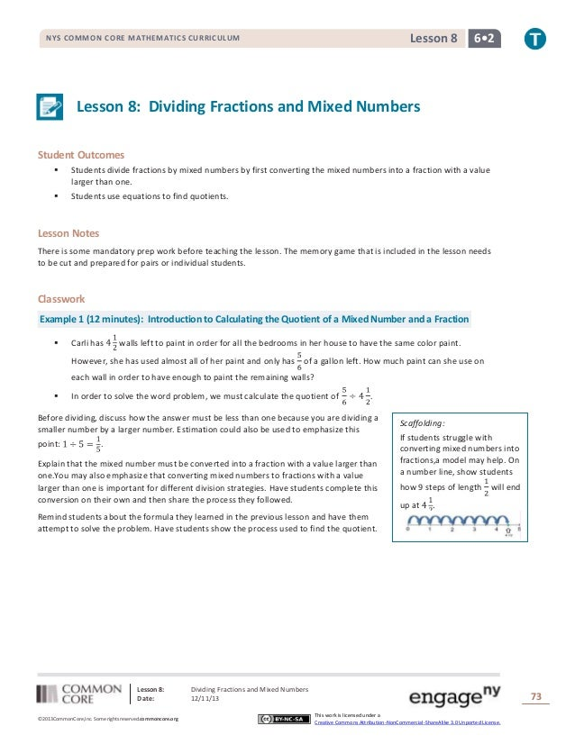 Lesson 8  NYS COMMON CORE MATHEMATICS CURRICULUM  6•2  Lesson 8: Dividing Fractions and Mixed Numbers Student Outcomes   ...