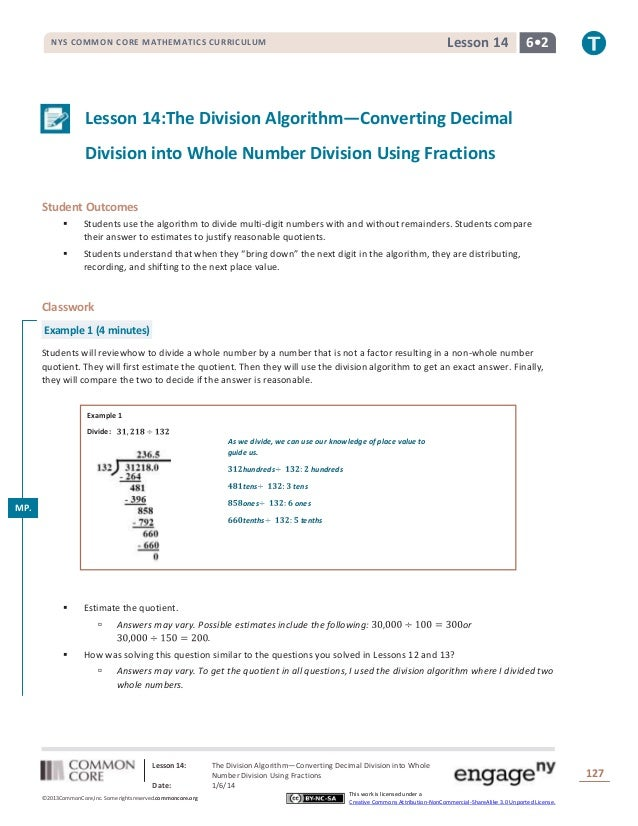 Lesson 14  NYS COMMON CORE MATHEMATICS CURRICULUM  6•2  Lesson 14:The Division Algorithm—Converting Decimal Division into ...