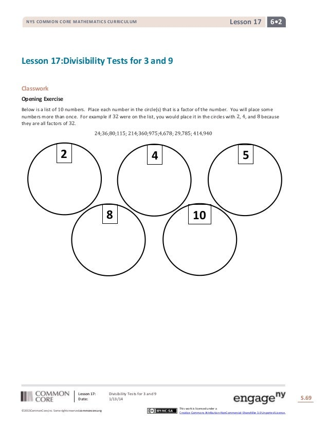 Lesson 17  NYS COMMON CORE MATHEMATICS CURRICULUM  6•2  Lesson 17:Divisibility Tests for 3 and 9 Classwork Opening Exercis...