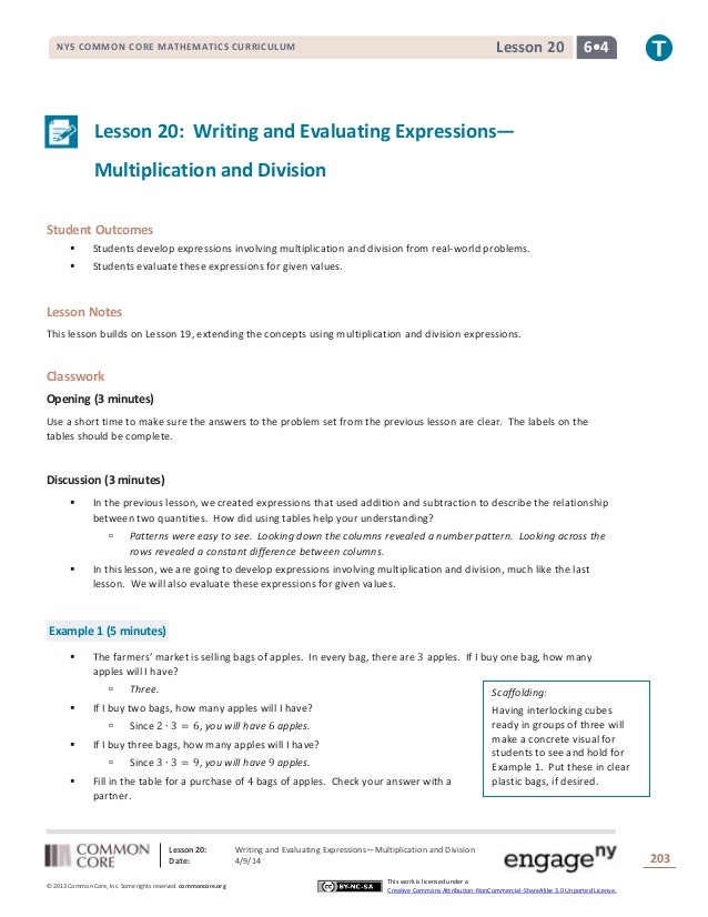 Lesson 20: Writing and Evaluating Expressions—Multiplication and Division Date: 4/9/14 203 © 2013 Common Core, Inc. Some r...