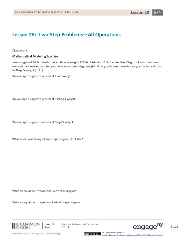 Lesson 28: Two-Step Problems―All Operations Date: 5/5/14 S.119 119 © 2013 Common Core, Inc. Some rights reserved. commonco...