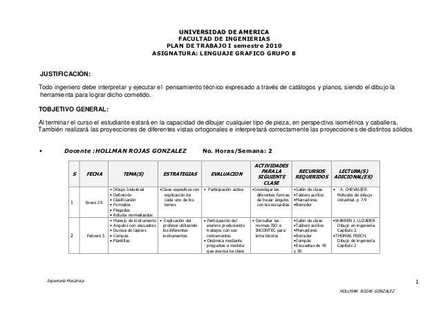 Ingeniería Mecánica HOLLMAN ROJAS GONZALEZ 1 UUNNIIVVEERRSSIIDDAADD DDEE AAMMEERRIICCAA FACULTAD DE INGENIERIAS PLAN DE TR...