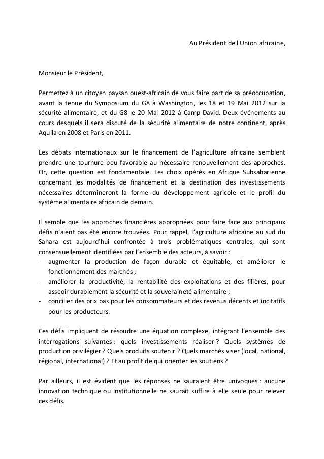 lettre au president de union africaine
