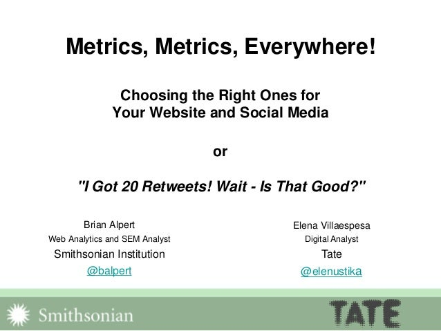 "Metrics, Metrics, Everywhere! Choosing the Right Ones for Your Website and Social Media or ""I Got 20 Retweets! Wait - Is T..."