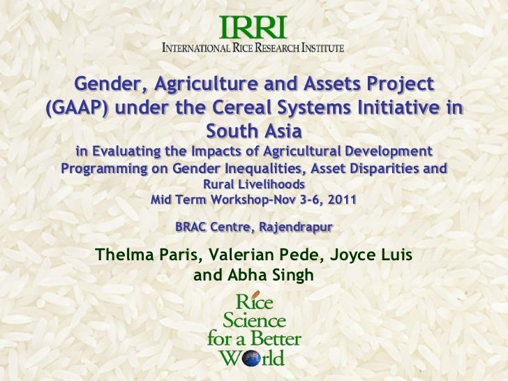 Gender, Agriculture and Assets Project(GAAP) under the Cereal Systems Initiative in                South Asia   in Evaluat...