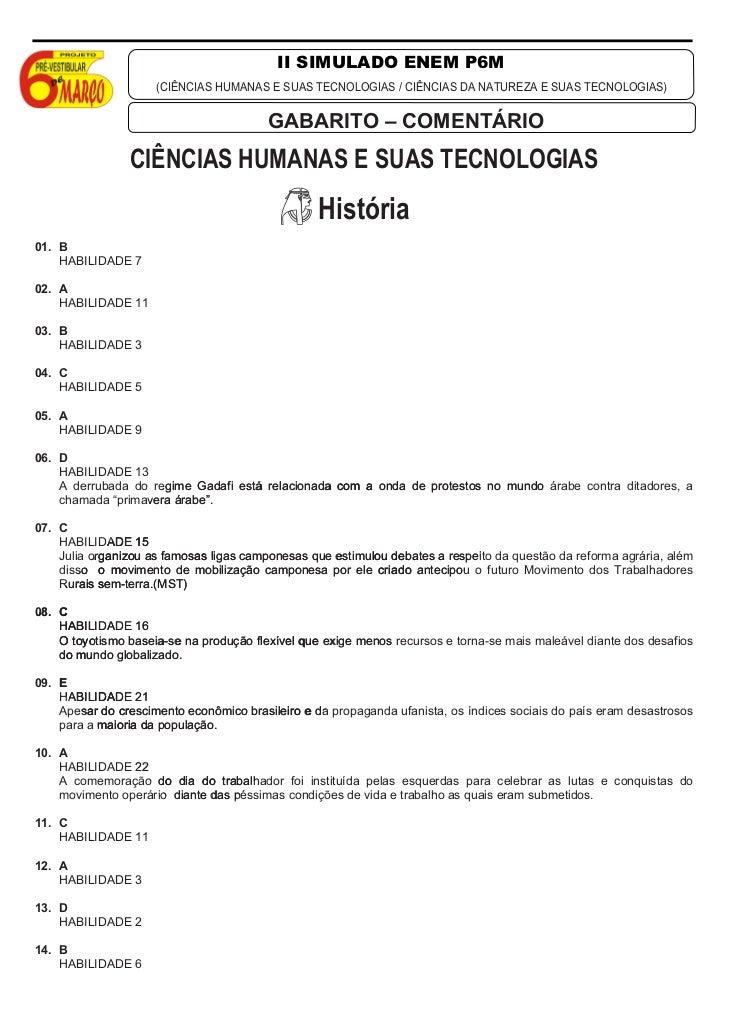 II SIMULADO ENEM P6M                     (CIÊNCIAS HUMANAS E SUAS TECNOLOGIAS / CIÊNCIAS DA NATUREZA E SUAS TECNOLOGIAS)  ...