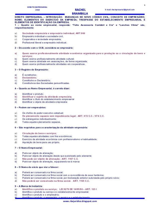 1           DIREITO EMPRESARIAL                   2010                                 RACHEL                       E-mail...