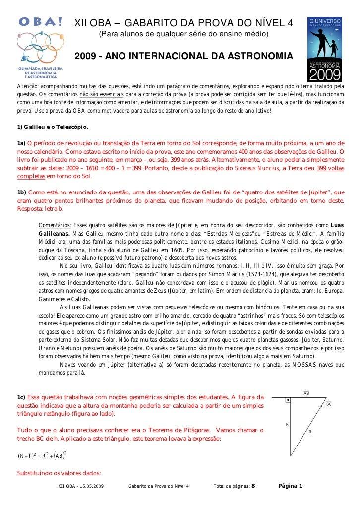 XII OBA – GABARITO DA PROVA DO NÍVEL 4                                   (Para alunos de qualquer série do ensino médio)  ...
