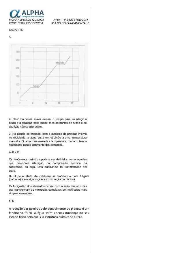 FICHA ALPHA DE QUÍMICA Nº 04 – 1º BIMESTRE/2014 PROF. SHIRLEY CORREIA 9º ANO DO FUNDAMENTAL I GABARITO 1- 2- Caso houvesse...