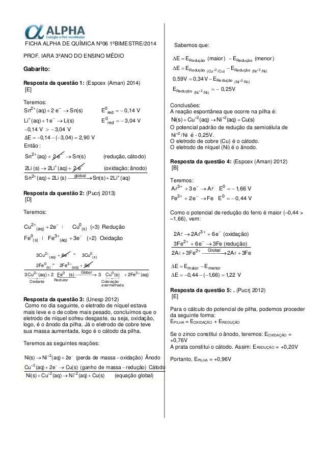FICHA ALPHA DE QUÍMICA Nº06 1ºBIMESTRE/2014 PROF. IARA 3ºANO DO ENSINO MÉDIO Gabarito: Resposta da questão 1: (Espcex (Ama...