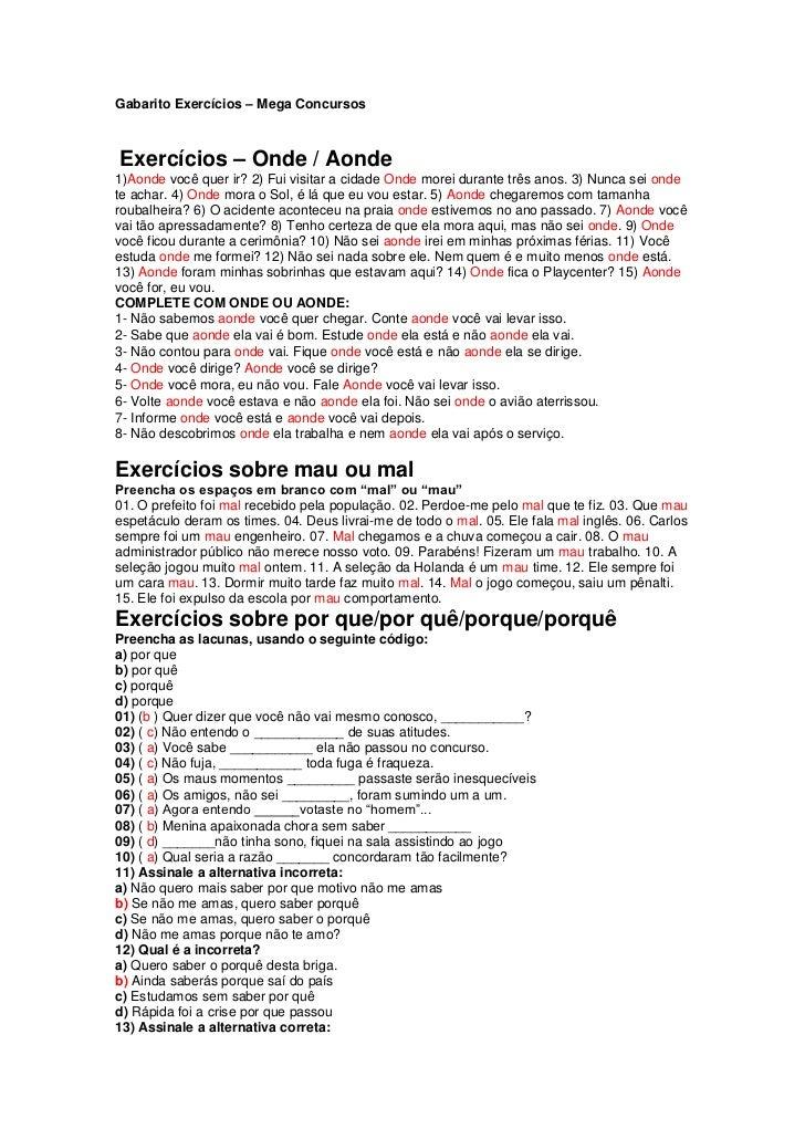 Gabarito Exercícios (onde/aonde/porquês/mal/mau) Mega Concursos