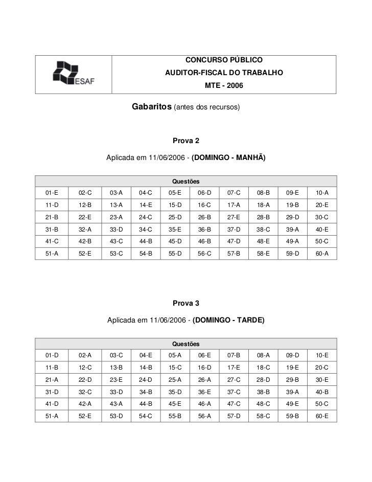 CONCURSO PÚBLICO                              AUDITOR-FISCAL DO TRABALHO                                           MTE - 2...