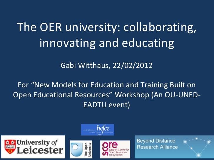 The OERu: sharing, collaborating and educating