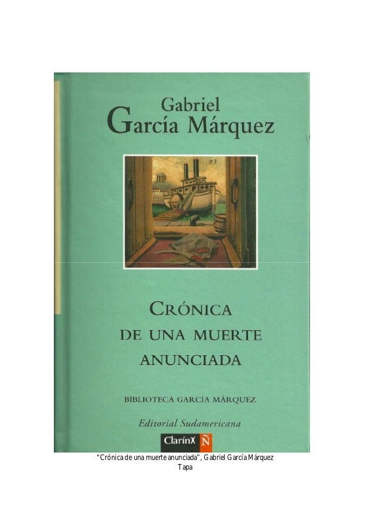 """Gabriel García Márquez, """"Crónica de una muerte anunciada"""""""