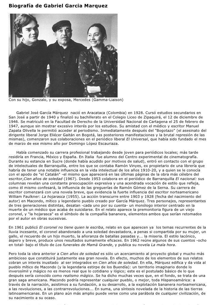 Biografía de Gabriel Garcia MarquezCon su hijo, Gonzalo, y su exposa, Mercedes (Gamma-Liaison)     Gabriel José García Már...