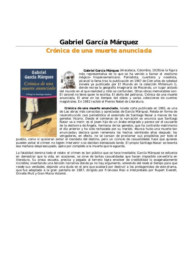 Gabriel garcia marquez cronica de unamuerte anunciada