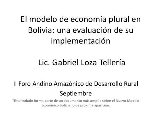 El modelo de economía plural en Bolivia: una evaluación de su implementación